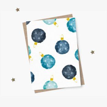 Neue Weihnachtskarte Aquarell Kugeln Blau