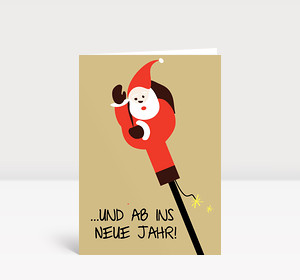 Neujahrskarte Weihnachtsmann Rakete