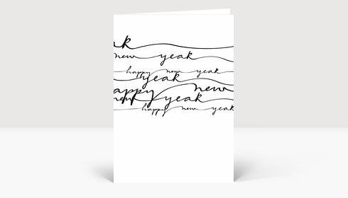 Neujahrskarte Happy New Year schwarze geschwungene Lettern