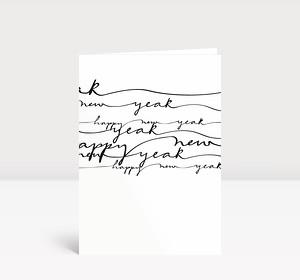 Neujahrskarte Schwarz geschwungene Lettern