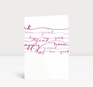 Neujahrskarte Lila geschwungene Lettern