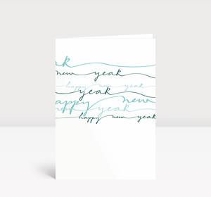 Neujahrskarte Blau geschwungene Lettern
