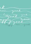 Neujahrskarte Geschwungene Lettern auf blau