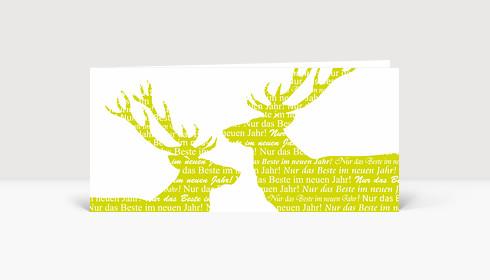 Neujahrskarte Zwei Hirsche in grün aus weiß. Nur das Beste