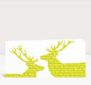 Neujahrskarte Zwei Neujahrs-Hirsche
