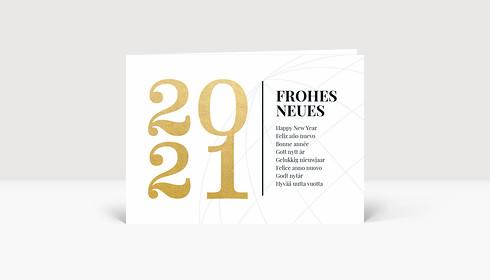 Neujahrskarte Frohes Neues International Gold