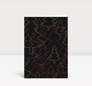 Weihnachtskarte Strahlende Weihnachtsbäume schwarz