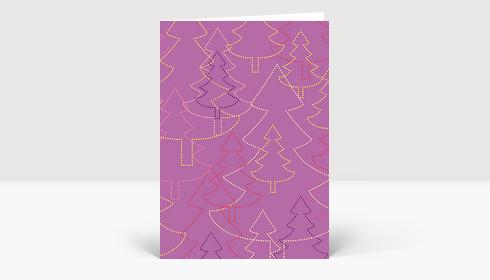 Weihnachtskarte Strahlende Weihnachtsbäume violett