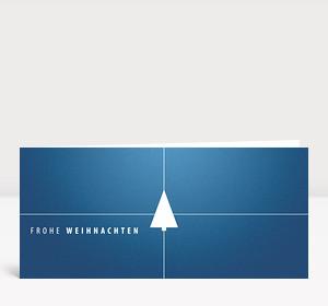 Weihnachtskarte Tannenbaum Geschenk blau
