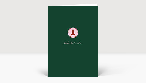 Weihnachtskarte Klein aber fein rot auf grün