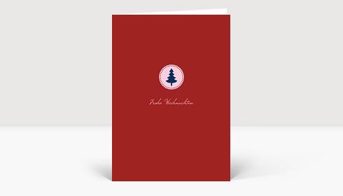 Weihnachtskarte Klein aber fein blau auf rot