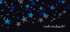 Weihnachtskarte Sternenregen blau grau