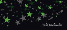 Weihnachtskarte Sternenregen grün