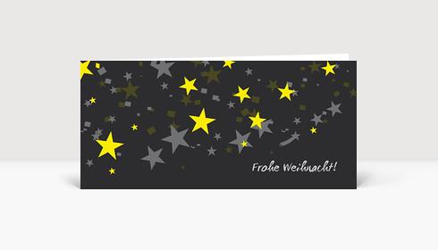 Weihnachtskarte Sternenregen gelb grau