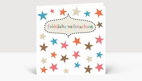 Weihnachtskarte Vergnügte Sternreihen No#1