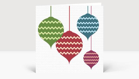 Weihnachtskarte Christbaumschmuck illustriert