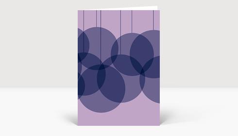 Weihnachtskarte Verschmelzende Weihnachtskugeln violett-flieder