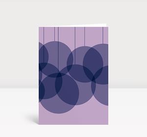 Weihnachtskarte Verschmelzende Kugeln violett