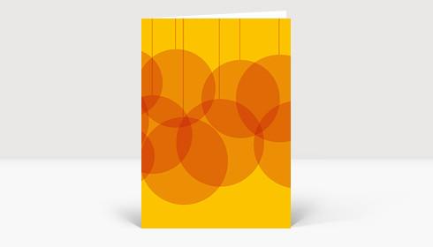 Weihnachtskarte Verschmelzende Weihnachtskugeln orange