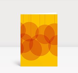 Weihnachtskarte Verschmelzende Kugeln orange