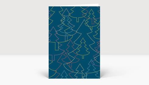 Weihnachtskarte Strahlende Weihnachtsbäume blau