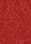 Weihnachtskarte Strahlende Weihnachtsbäume dunkelrot