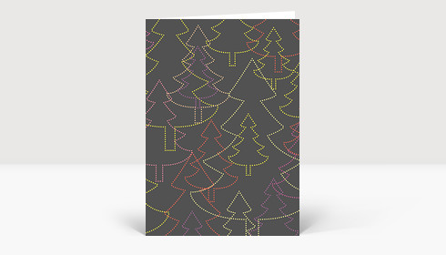 Weihnachtskarte Strahlende Weihnachtsbäume grau #2