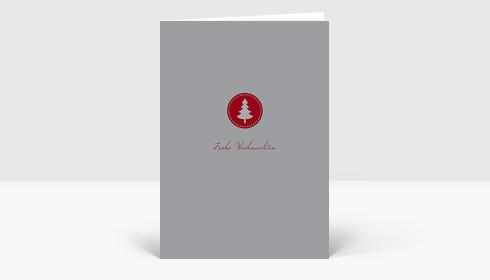 Weihnachtskarte Klein aber fein rot auf grau