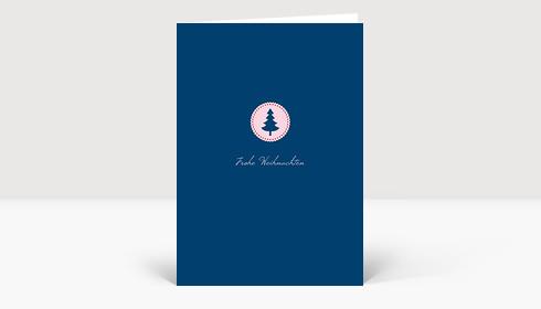 Weihnachtskarte Klein aber fein rosa auf dunkelblau