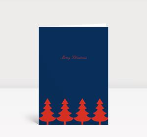 Weihnachtskarte Strahlende Christbaumkette rot auf blau