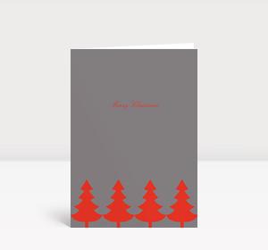 Weihnachtskarte Strahlende Christbaumkette rot auf grau
