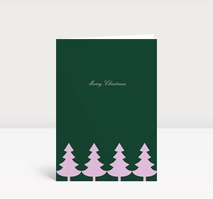 Weihnachtskarte Strahlende Christbaumkette lila auf grün