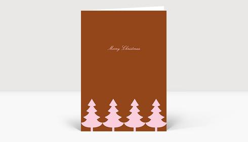 Weihnachtskarte Strahlende Christbaumkette rose auf rotbraun