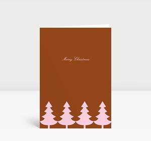 Weihnachtskarte Strahlende Christbaumkette rosé auf rotbraun