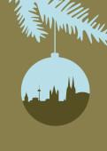Weihnachtskarte Köln Christbaumkugel grün-beige