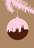 Weihnachtskarte Köln Christbaumkugel rosa natur