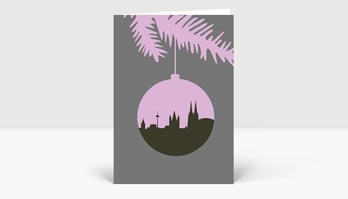 Weihnachtskarte Köln Christbaumkugel edelgrau