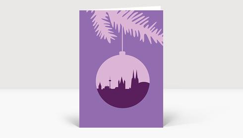 Weihnachtskarte Köln Christbaumkugel flieder