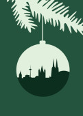 Weihnachtskarte Köln Christbaumkugel dunkelgrün