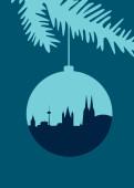 Weihnachtskarte Köln Christbaumkugel königsblau