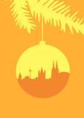 Weihnachtskarte Köln Christbaumkugel goldgelb