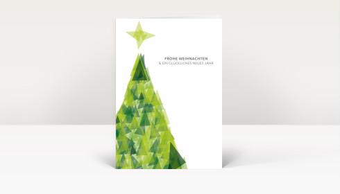 weihnachtskarte weihnachtsbaum dreiecke gr n dk1387. Black Bedroom Furniture Sets. Home Design Ideas