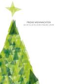 Weihnachtskarte Weihnachtsbaum Dreiecke grün