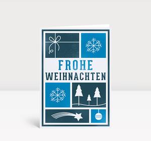 Weihnachtskarte Kacheln mit Weihnachtsmotiven blau
