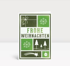 Weihnachtskarte Kacheln mit Weihnachtsmotiven grün