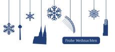 Weihnachtskarte Köln Flakes blau-weiß