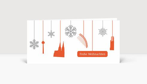 Christbaumkugeln Köln.Weihnachtskarte Köln Flakes Orange Weiß
