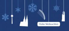 Weihnachtskarte Köln Flakes weiß auf blau