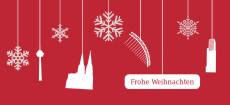 Weihnachtskarte Köln Flakes weiß auf rot