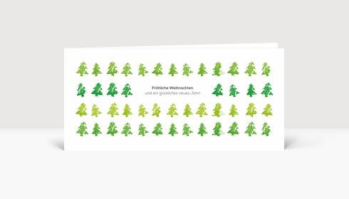 Weihnachtskarte Tannenreihen grün